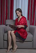 Красный велюровый халатик с французским кружевом, фото 2