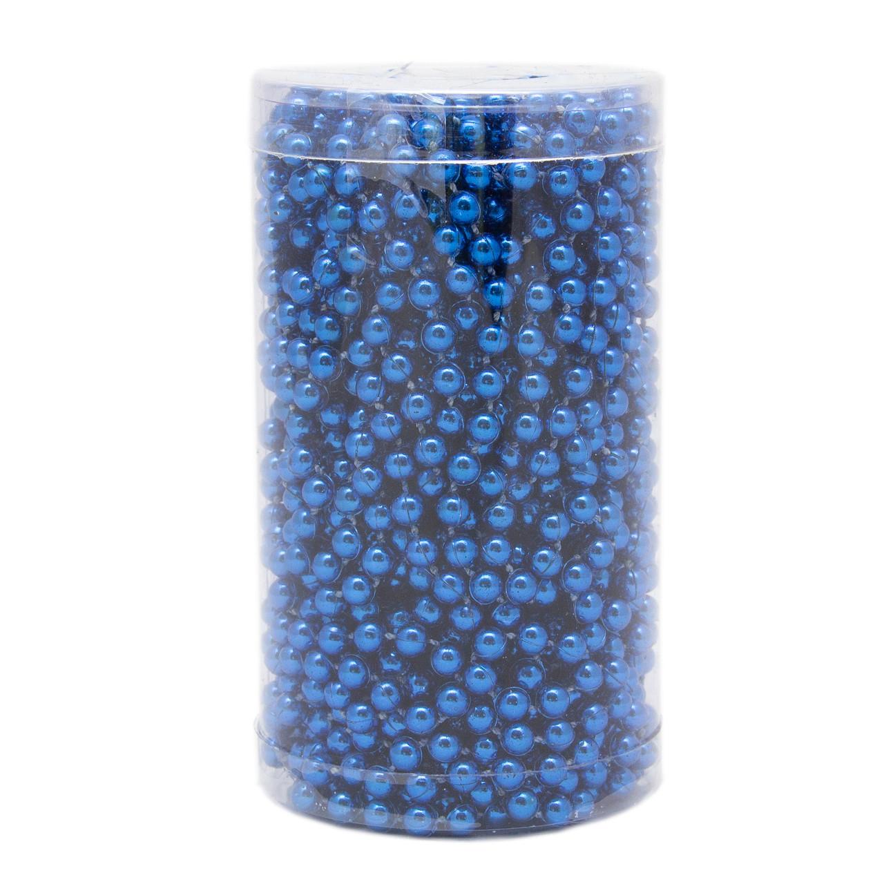 Бусы на елку, пластик 6 мм*15 м, Синие, (030446-3)