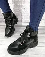 Ботинки женские из натуральной кожи черные на шнуровке спортивные на толстой черной подошве на байке/овчине