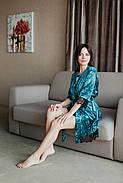 Изумрудный велюровый халатик с французским кружевом, фото 2