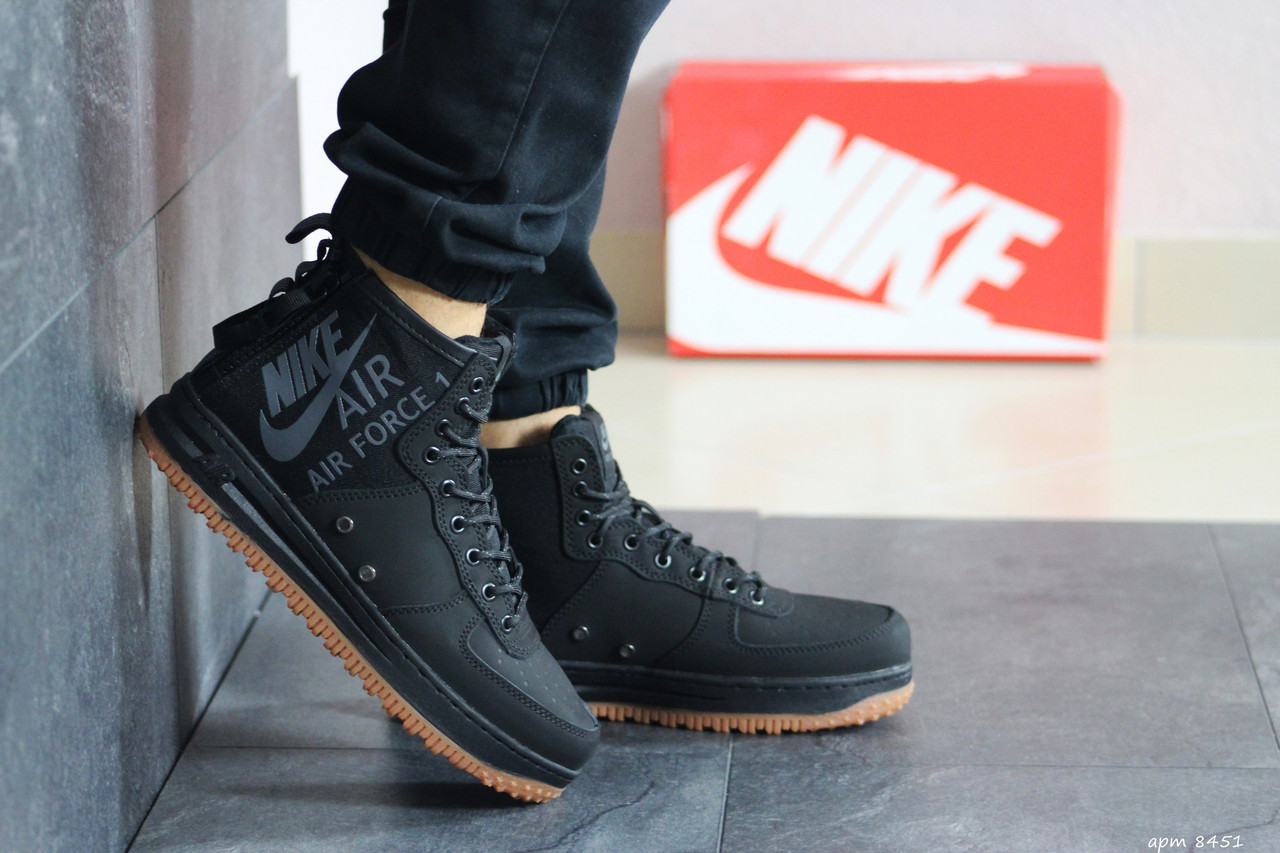 Высокие мужские кроссовки Nike Air Force 1, черные /  чоловічі кросівки Найк (Топ реплика ААА+)