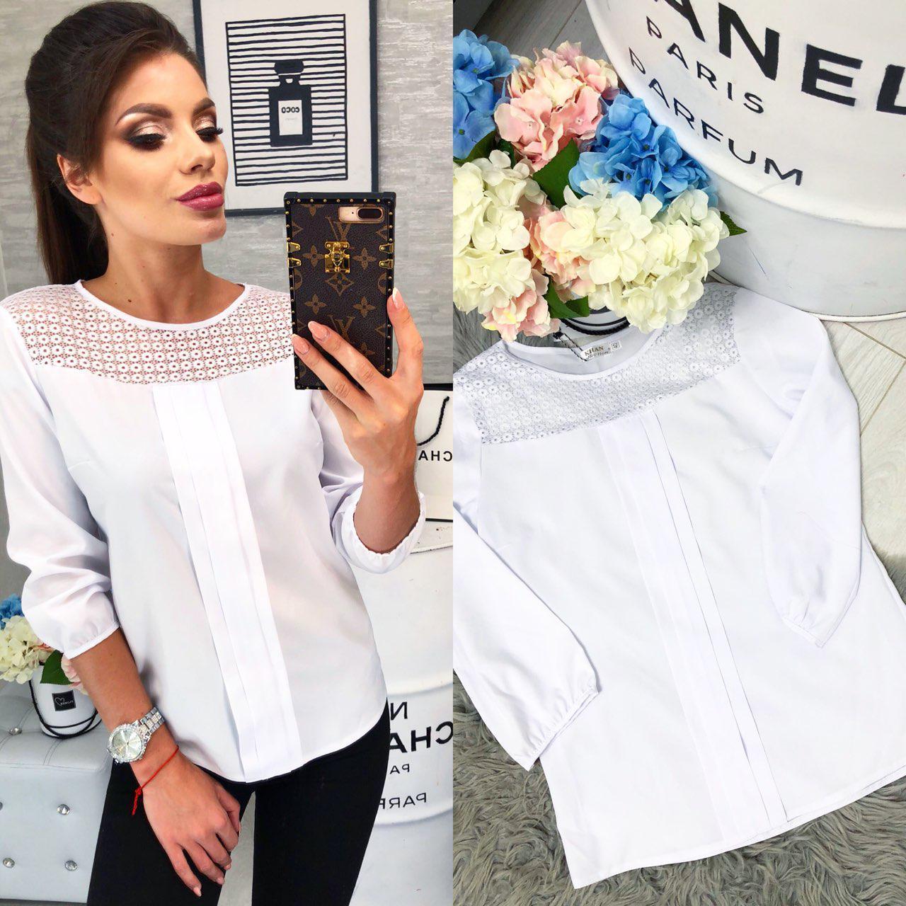 Блуза бенгалин + мереживо арт. 793/2 білого кольору