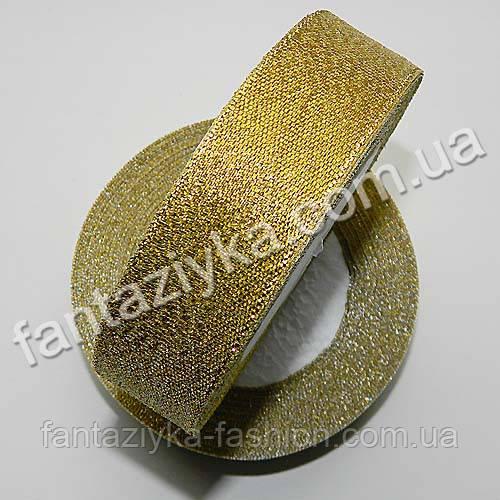 Лента парчовая 2,5 см золотая