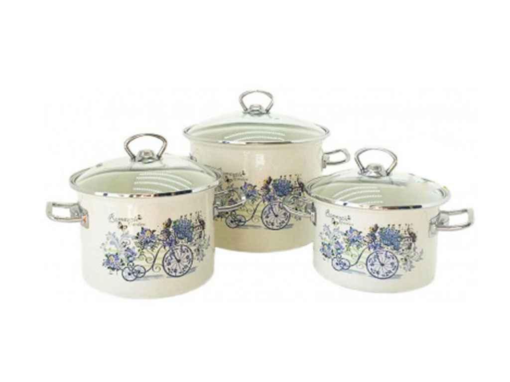 Набор эмалированной посуды Idilia Романтический сад 3 предмета (№1500)