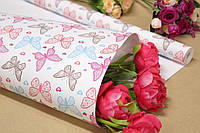 Упаковочная крафт бумага для цветов и подарков с рисунком 70см*10м Бабочка на белом