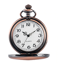 Кишенькові чорні чоловічі годинник на ланцюжку мідний колір, фото 3