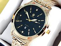 Мужские кварцевые наручные часы Rolex (Ролекс) золото, черный циферблат CW316