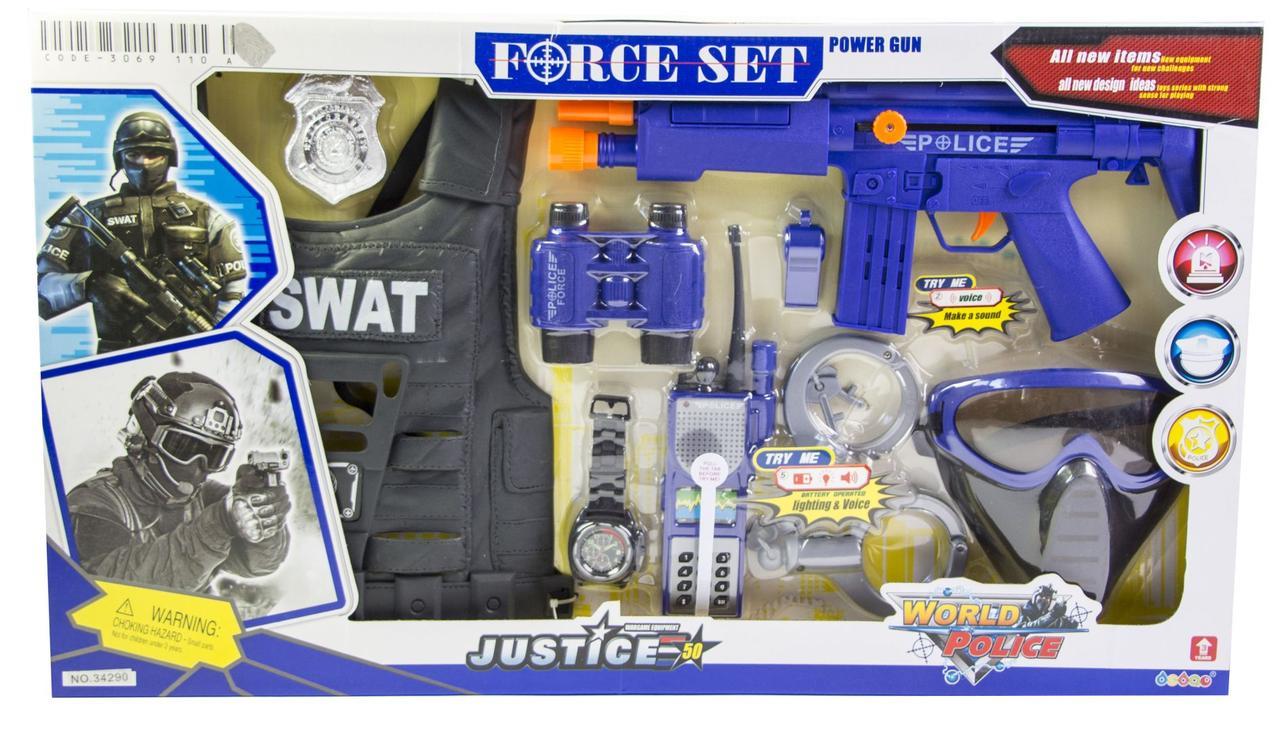 Детский набор полицейский SWAT с бронежилетом (34290) оптом