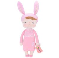 Игрушки в кроватку-мягкая игрушка-сплюшка зайка-сплюшка Metoo Анжела в розовом платье+подарочный пакет