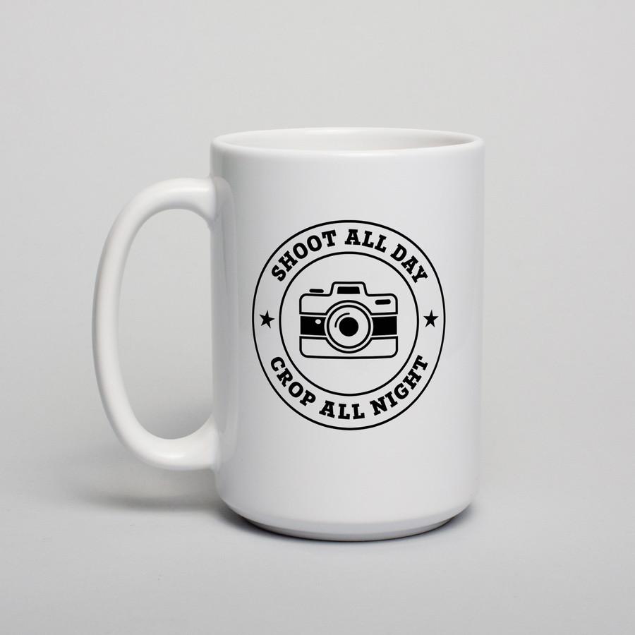 """Чашка с надписью подарочная """"Shoot all day, cropp all night"""", 420 мл керамическая"""