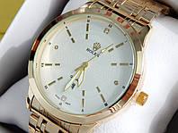 Мужские кварцевые наручные часы Rolex (Ролекс) золото, белый циферблат CW317