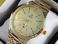 Мужские кварцевые наручные часы Rolex (Ролекс) золото, золотистый циферблат CW318