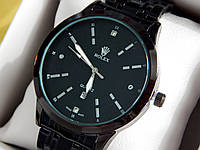 Мужские кварцевые наручные часы Rolex (Ролекс) черного цвета, CW319