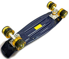 Penny Board. Темно-синий цвет. Желтые светящиеся колеса., фото 2
