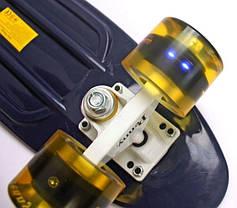 Penny Board. Темно-синий цвет. Желтые светящиеся колеса., фото 3
