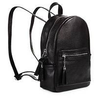 Кожаный черный городской рюкзак