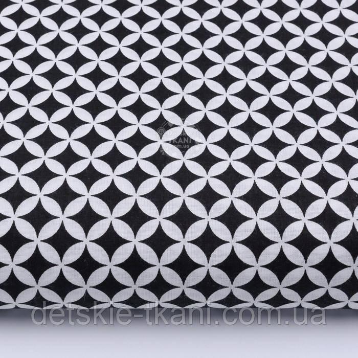Лоскут ткани с сеткой из лепестков чёрного цвета № 257а, размер 49*80 см