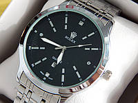 Мужские кварцевые наручные часы Rolex (Ролекс) серебро, черный циферблат, CW320