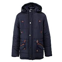 Куртка детская зимняя-демисезонная для мальчика Парка темно-синяя 146,152,158,164см сьемний жилет
