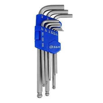 """Набор шестигранных ключей S&R HX 9шт (1/16-3/8"""") в пластиковой клипсе"""