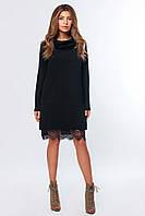 Свободное черное платье с кружевом  ( р. XS, S, M , L )
