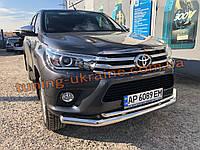 Дуга двойная никель D70-42 Тойота Хайлюкс 2015-2019 Защита переднего бампера труба двойная Toyota Hilux 2015+