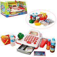 Детский кассовый аппарат с продуктами, деньгами, сканером