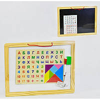 Двостороння дерев'яна дощечка азбука Fun Toys 36022 велика