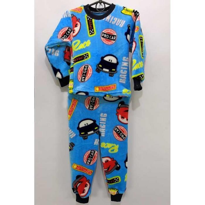 Пижама для мальчика с начесом принт Тачки 30-36 р, детские пижамы оптом от производителя