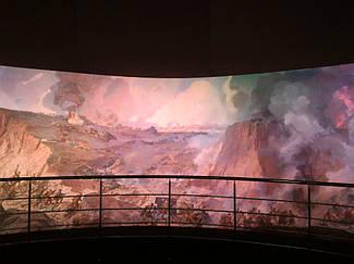 Система управления механизмами подъема экрана диарамы музея на базе 3-х преобразователей частоты Hitachi. 1