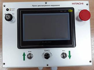 Система управления механизмами подъема экрана диарамы музея на базе 3-х преобразователей частоты Hitachi. 4