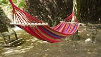 Подвесной гамак из 100% хлопка для отдыха на свежем воздухе с деревянной основой, 200х100
