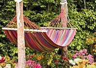 Подвесной гамак из 100% хлопка для отдыха на свежем воздухе с деревянной основой, 200х120