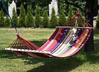 Подвесной гамак из 100% хлопка для отдыха на свежем воздухе с деревянной основой, 200х150