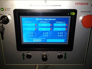 Система управления механизмами подъема экрана диарамы музея на базе 3-х преобразователей частоты Hitachi. 8