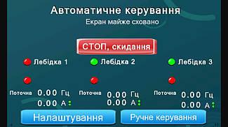 Система управления механизмами подъема экрана диарамы музея на базе 3-х преобразователей частоты Hitachi. 14