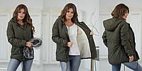 Теплая куртка парка на овчине арт 115