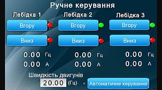 Система управления механизмами подъема экрана диарамы музея на базе 3-х преобразователей частоты Hitachi. 16