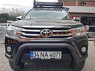 Дуга передняя на Toyota Hilux 2015+ Защита переднего бампера кенгурятник передний низкий черный матовый