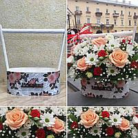 Ящик для цветов и декора, Роза на газете