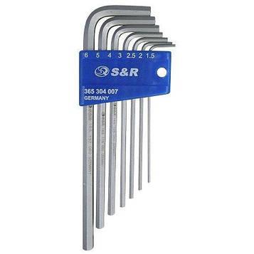 Набор шестигранных ключей S&R НX 7шт в пластиковой клипсе