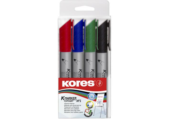 Набір маркерів для фліпчартів KORES XF1 1-3 мм, 4 шт. в блістері