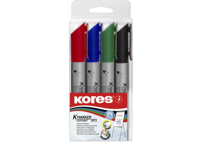 Набір маркерів для фліпчартів KORES XF1 1-3 мм, 4 шт. в блістері, фото 2