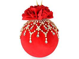 Елочный шар тканевый Красный маскарад 10 см, ручная работа 085-050