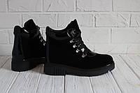 Женские ботинки из натуральной замши с вставками лаковой кожи Возможен отшив в других цветах