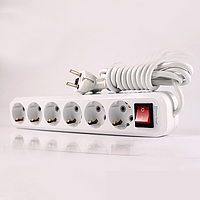 ElectroHouse Удлинитель 6 гнезда с кнопкой, длина 5м с заземлением