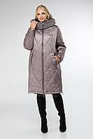 Теплая женская куртка больших размеров со сьемным мехом
