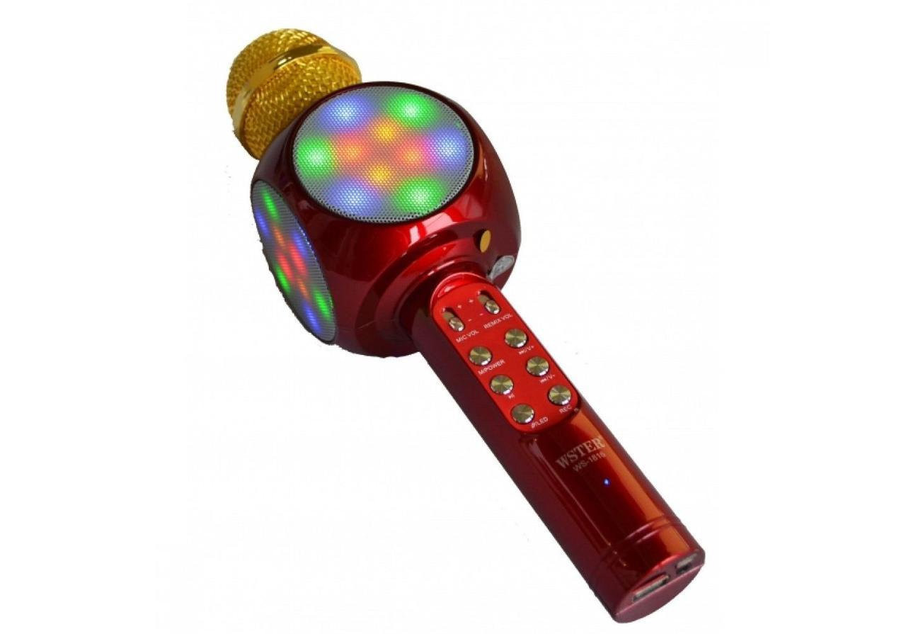 Беспроводной караоке микрофон WS1816 со цветомузыкой и чехлом - Красный