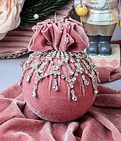Елочный шар тканевый Розовая жемчужина 10 см, ручная работа 085-001