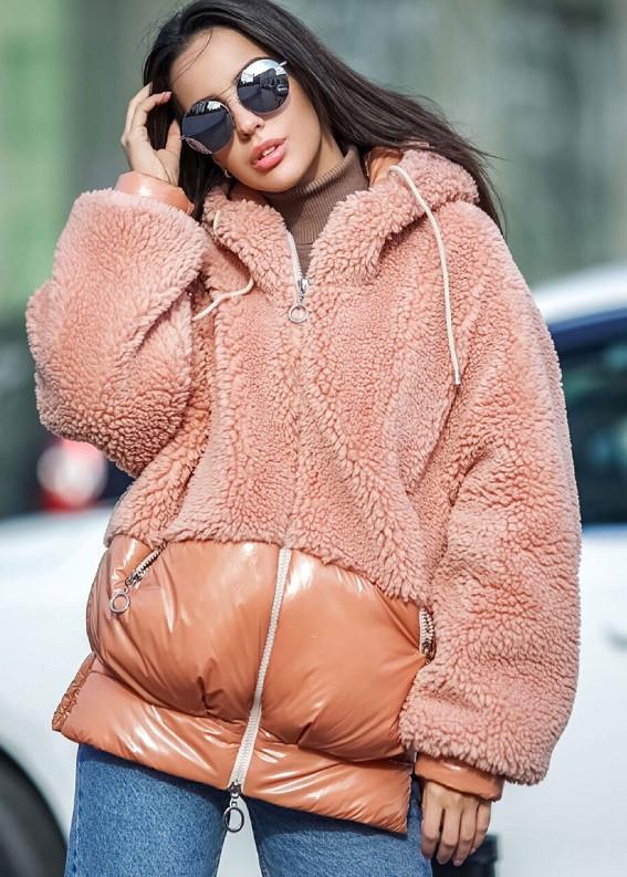 Куртка молодіжна плюш з капюшоном Тедді різних кольорів еврозима 44-48 р
